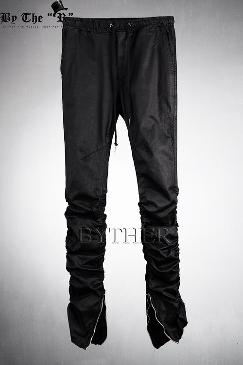 Inner Ankle Zip Line Shirring Detail Slim Fit Waistband Pants